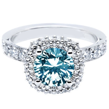 Blue & white round diamonds 1.51 carats solitaire with accents ring white gold 1