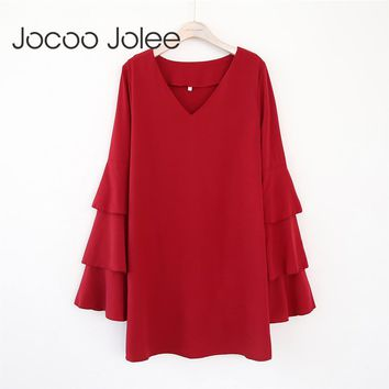 Cascading Ruffles Sleeves Dress for Women V-Neck Straight Dress Winter and Spring Casual Dress