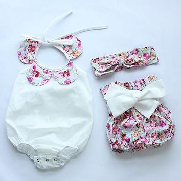 New arrival hot baby girls vintage floral ruffle neck romper cloth with bow knot shorts headband baby toddler summer boutiques