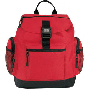 "12"" Drawstring Reflector Backpack With Leather Like Bottom - Red"