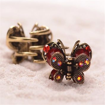 Vintage Hair Clip Mini Butterfly Rhinestone Resin Hair Claw Antique Metal Hair Clip For Women Hair Jewelry New Listing Crab Claw