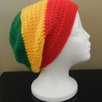 Rasta Colored Crocheted Beannie  FREE SHIPPING
