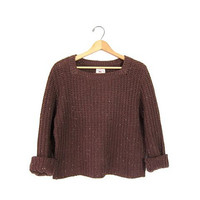 Vintage speckled brown sweater.  Cropped loose knit sweater. Basic knit sweater. Fall sweater. Women's small