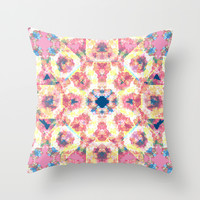 caleido flower Throw Pillow by Anigui