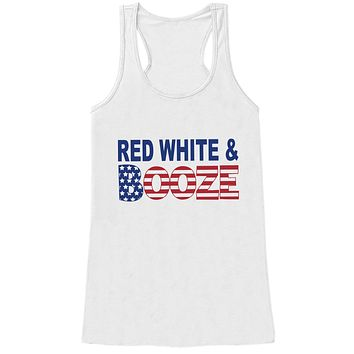 Red, White & Booze Tank Top - Women's 4th of July Tank - White Tank - American Flag 4th of July Party Shirt - Patriotic Drinking Shirt