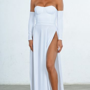 Indie XO You're An Angel White Double Slit Off the Shoulder Bustier Long Sleeve Maxi Gown Dress
