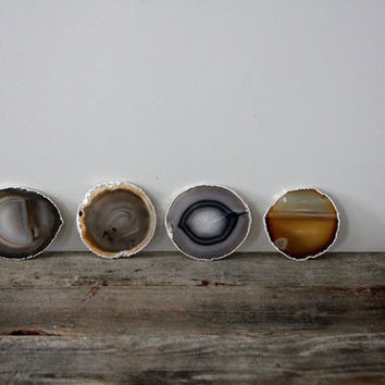 Set of Four Silver Rimmed Agate Coasters