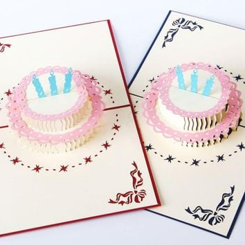 Pop Up 3D Candle Cake Birthday Gift Card