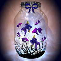 Hand painted Tropical fish Lantern / candle holder / night light.....MADE TO ORDER.