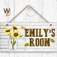 "Sunflower Sign, Rustic Flowers in Mason Jar Sign, Personalized Sign, Kid's Name, Kids Door Sign, Nursery Art, 5"" x 10"" Sign, Made To Order"