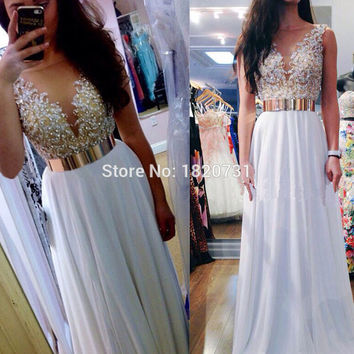 Vestidos De Graduacion Largos 2017 Long White Prom Dress Elegant Pearls Deep V Neck Formal Evening Gowns Dresses
