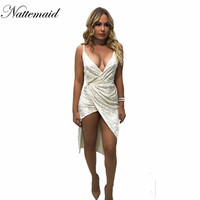 2016 Chrismas Day Women Bandage Dresses Sexy Bodycon White Velvet Dress V neck Spaghetti Strap Party Club Side split Vestidos