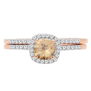 10K Rose Gold Round Gemstone & Diamond Bridal Halo Engagement Ring With Matching Band Set