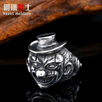 Superior quality stainless steel clown ring happy smile face heavy Heavy Metals punk rock hip hop street Graffiti style