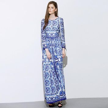 HIGH QUALITY Designer Long Dress Women's Long Sleeve Blue Floral Printed Retro Runway Maxi Dress Plus size S-XXL