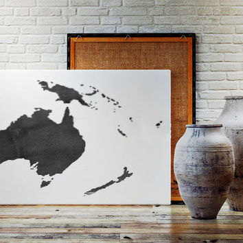 WATERCOLOR AUSTRALIA MAP Australia Map Watercolor Painting Watercolor poster Handmade poster Continent poster World Map Australia Printable