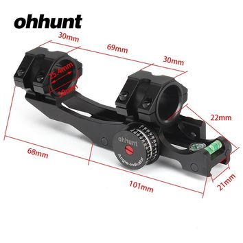 ohhunt 25.4mm 30mm Offset Bi-direction Picatinny Weaver Scope Rings Mount Bubb Level Compass and w/ Angle Cosine Indicator Kit