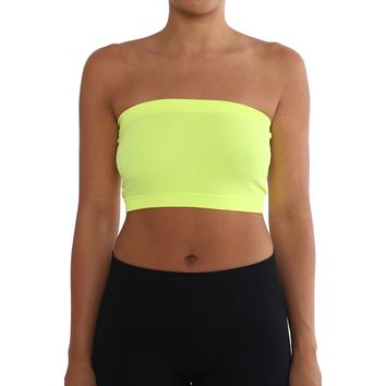 Women's Strapless/Seamless Tube Top Bandeau - Neon Yellow