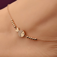 Fashion Cute Fish Anklet in Rose Gold Color Steel Chain Bracelet Lover Barefoot Chain
