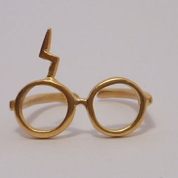 Harry Potter ring. Lightning glasses.Silver gold plated 18K ring.Adjustable scar ring.