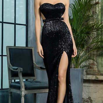 Lose Control Black Sequin Strapless Sweetheart Neck Cut Out Sides Backless High Slit Maxi Dress