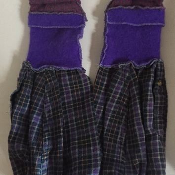 Long to short convertible purple sleeve arm warmer gloves