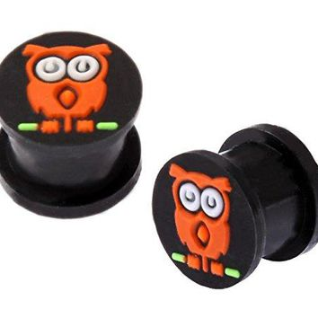 BodyJ4You Owl Silicone Plugs Double Flare Flexible (2 Pieces) 2G-14mm