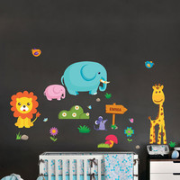 Nursery wall decals-Stickers for nursery- jungle animals decals- Removable & Reusable Fabric vinyl- Elephant-Giraffe-lion-mouse-birds