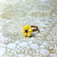 Handmade Dainty Yellow Adjustable Sunflower Ring with Bronze Band