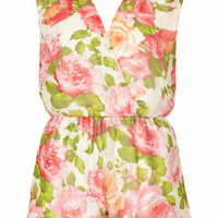 **FLORAL CROSS OVER WRAP PLAYSUIT BY RARE
