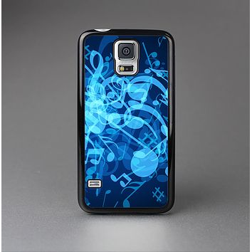 The Glowing Blue Music Notes Skin-Sert Case for the Samsung Galaxy S5