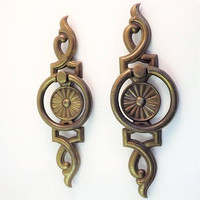 Vintage Brass Cabinet Pulls, Set of 2 Large Ornate 1970s Drawer Handles, Mod Metal Knocker Pull, Tin Cabinet Hardware, Big Cabinet Pulls