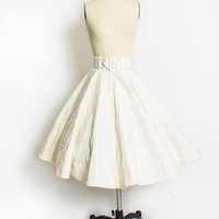 Vintage 50s Skirt - FULL CIRCLE Ivory Taffeta Gold Lame Quilted 1950s - Extra Small XS