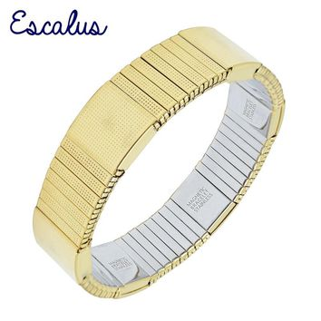 Escalus Elastic Strong Magnetic Bracelet For Men Imitation Costume Gold Color Ionic Plating Hot Charm Bracelets Wristband