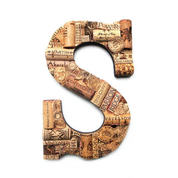 Customized Handmade Vintage Wine Cork Letter - Large Size - We Have EVERY Letter