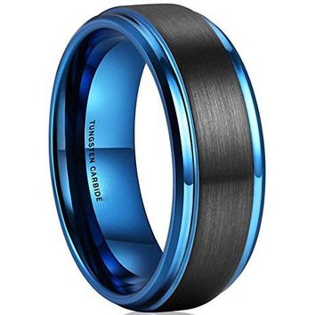 8mm Tungsten Carbide Jewelry Black Blue Two-tone Wedding Band Engagement Ring Matte Finish