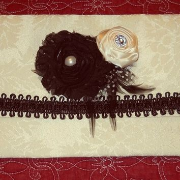 Purse Clutch Handmade Ivory damask with black accents and handmade fabric flowers, feathers
