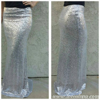 Matte Silver Maxi - Gorgeous high quality sequins - Long sequined skirt --  Custom length