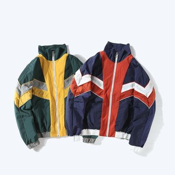 women hip pop jackets 90s red white blue patchwork Japanese coats loose zipper his and hers streetwears vintage chaqueta mujer