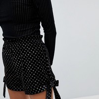 River Island Velvet Glitter Polka Dot Shorts at asos.com