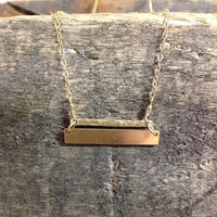 14K Gold filled double bar necklace / hammered / stamped / personalized / names / dates / mom / kids / gift