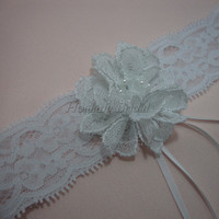 Garter, stretchy lace garter, wedding garter with lace flower