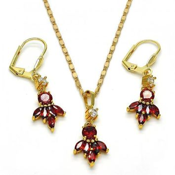 Gold Layered 10.283.0011 Necklace and Earring, Leaf Design, with Garnet and White Cubic Zirconia, Polished Finish, Golden Tone