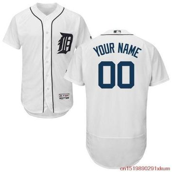PEAPFS2 MLB Men's Detroit Tigers Baseball Home White Flex Base Authentic Collection Custom Jersey
