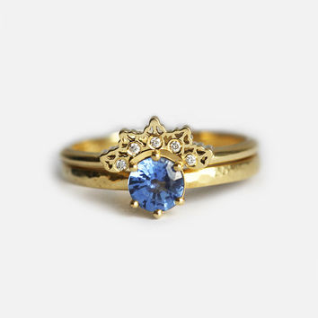 Sapphire Ring Set, Gold Lace Band With solitaire Sapphire Ring, Diamond Lace Band with Blue Sapphire Ring, Alternative Wedding Set