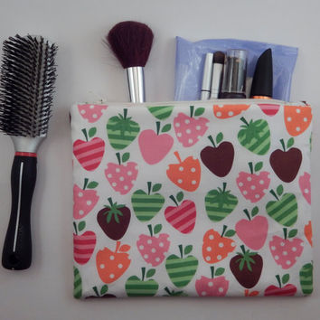 Strawberry Zipper Pouch clutch large lined cosmetic bag fruit Ann Kelle bright cute bag zip case Teen, Women, Children