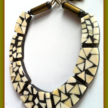 Bone Inlay Choker, African Tribal Jewelry, White Vintage Bone set in Black Wood, Very Old Antique Brass Beads and Closure, Geometric Unique