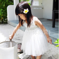 2014 Super white rose fairy princess dress - vest dress veil children - rocks rose dress clothes