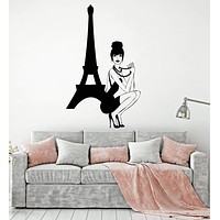 Vinyl Wall Decal Paris Girl In Dress France Romance Fashion Stickers Unique Gift (1565ig)