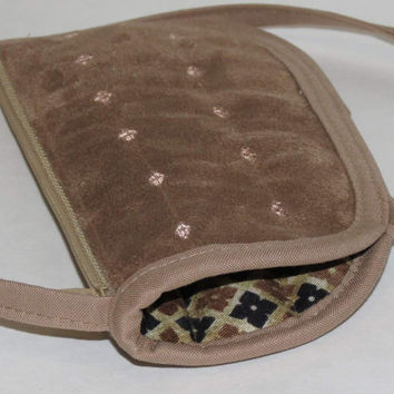 Quilted Eyeglass or Phone Case with Neck Strap and Side Pockets, Zippered, Security Wallet, Tan Ultra Suede